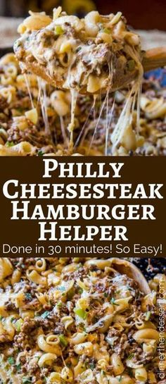 Kids Meals We LOVE this Philly Cheesesteak Hamburger Helper, and the kids loved it too! - Philly Cheesesteak Hamburger Helper will make you forget all about the boxed type you had as a kid, you'll love this creamy, cheesy cheesesteak pasta. Crock Pot Recipes, Beef Steak Recipes, Beef Recipes For Dinner, Casserole Recipes, Cooking Recipes, Beef Meals, Cooking Tips, Beef Tips, Cooking Beef