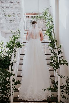 Beautiful shot of bride Meredith on our iron lace staircase! | BridgeStreet weddings | BANG Images | Birmingham