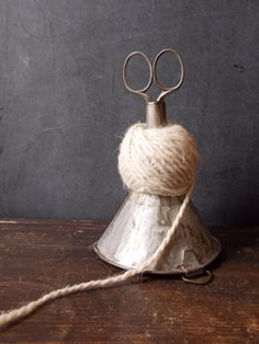 Wonderful repurposed vintage! Made from an old tin farmhouse funnel. String and scissors Holder.  From theravenandrose on etsy