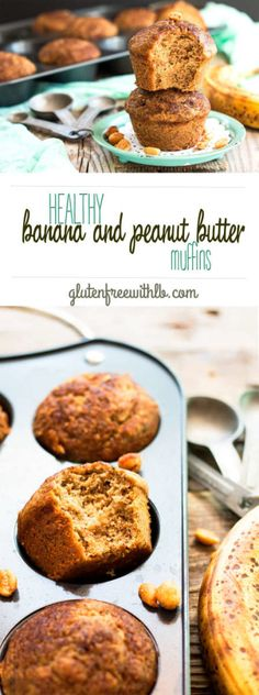 Healthy Banana & Peanut Butter Breakfast Muffins recipe | A healthy breakfast recipe for refined sugar free muffins that are full of bananas, peanut butter, coconut oil and maple syrup!