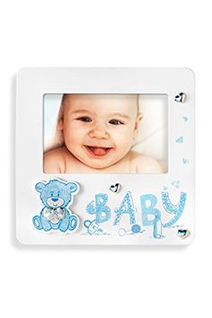 Acca Wooden Baby Boy Picture Frame with 925 Sterling Silver Bow Hearts and Teddy Bear in Gift Box Perfect for Nursery Baby Shower Newborn Baptism Christening Christmas Blue *** This is an Amazon Affiliate link. You can find more details by visiting the image link.