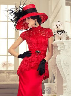 Red dress and hat.