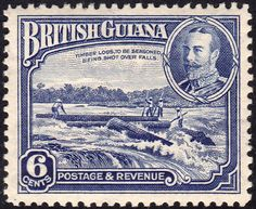 """British Guiana 1934 Scott 214 deep ultramarine """"Shooting Logs over Falls"""" Timber Logs, British Guiana, Stamp World, Crown Colony, Argentine, Vintage Stamps, King George, Great Britain, South America"""