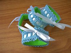 Set of Four Thread Crochet Napkin Rings - Blue, White and Green