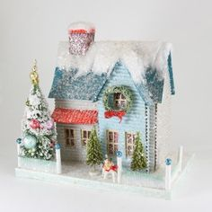 Putz houses from retro to traditional. Add to your Christmas village display with a new putz house that light up. Find your glitter paper putz house here! Noel Christmas, All Things Christmas, Vintage Christmas, Christmas Crafts, Christmas Decorations, Christmas Ornaments, Christmas Mantles, Christmas Glitter, Victorian Christmas