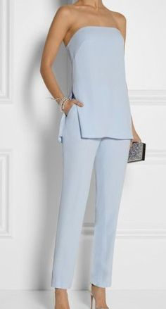 Trending Fall 2014 - Pastels: ADAM LIPPES Crepe straight-leg pants and bustier top Mais Mode Chic, Mode Style, Mode Outfits, Fashion Outfits, Womens Fashion, Ladies Fashion, Fashion Trends, Runway Fashion, Summer Outfits