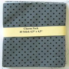 """asc-100-601040 x (4,5"""" x 4,5"""" - ~ 11,43 cm x 11,43 cm)  Charm Pack - 40 grau-schwarze Basics, 20 verschiedene Stoffe, jeweils zweimal - Stoffzusammenstellung"""