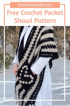 Come make this easy DIY Pocket Shawl using the Free Crochet Pattern on The Hook Nook Life Blog! Diy Crochet Patterns, Crochet Cardigan Pattern, Knitting Patterns Free, Easy Crochet, Free Crochet, Knit Crochet, Scarf Patterns, Diy Crafts List, Pineapple Crochet
