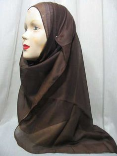 """Short length hijab to be worn under or upper hijab  Usage:    Eliminate hair of transparency upper hijab.  Concerting trim for head.  Different hijab wrap style.  Fabric: Blended Egyptian Cotton  Approximate Measure: 17.7' x 59"""" /45 x 150 cm  Color: Brown              Price: US$2.95  1.85 GBP 2.32 EUR 2.90 CAD"""