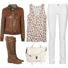 Animal print and white jeans with boots