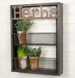 "Grow your wild herbs with our herb wall planter, complete with 2 racks for up to 6 small potted plants. The surrounding frame displays the ""Herbs"" label. Wire Wall Shelf, Wall Racks, Wall Shelves, Glass Shelves, Kitchen Window Shelves, Kitchen Windows, Kitchen Cabinets, Plant Window Shelf, Window Wall"