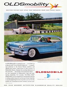 Oldsmobile Super 88 Holiday Sedan 1958 - Mad Men Art: The 1891-1970 Vintage…...Please save this pin.  Because for vintage collectibles - Click on the following link!.. http://www.ebay.com/usr/prestige_online