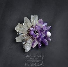 Handmade brooch violet rough crystal аmethyst and quartz   Etsy Raw Gemstone Jewelry, Raw Crystal Jewelry, Brooches Handmade, Raw Gemstones, Orange Flowers, Beautiful Gift Boxes, Flower Brooch, Etsy Jewelry, Beautiful Necklaces