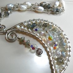 Crescent Moon Wire Wrapped Necklace with Pearls