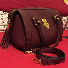 Burgundy bowling bag with gold details Comes with long stripes; gold details; size of LV speedy 30; no dust bag; no trades ASOS Bags
