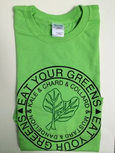 Screen Printed Eat your Greens T Shirt, L, Green Vegetables, Kale Shirt, aa4bc412ce