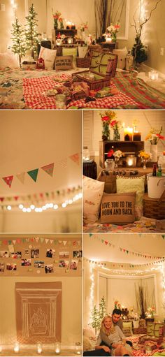 Super cozy and romantic indoor picnic. Great idea to draw a fireplace on craft paper if you don't have one!