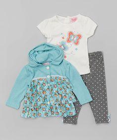 Look at this #zulilyfind! Blue Floral Ruffle Hoodie Set - Infant & Girls by Nannette Girl #zulilyfinds