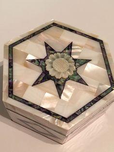 #Professional #Handmade #Chicago #Full #Mother #Pearl #Jewelry #Box #Hexagonal #Shape