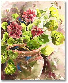 watercolor paintings | Watercolor Painting of Geranium flowers