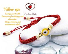 Red thread macrame bracelet for protection with black Turkish eye, goldfilled and miyuki beads Yoga Jewelry, Diy Jewelry, Jewelry Making, Color Meanings, Evil Eye Bracelet, Leather Books, Yellow Eyes, Macrame Bracelets, Beads