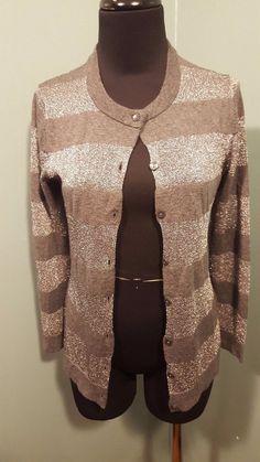 Ann Taylor Gray Silver Metallic Merino Wool Striped Holiday Cardigan Sweater XS #AnnTaylor #Cardigan #daystarfashions $24 OBO