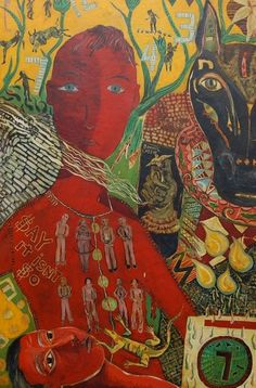 'Bonnie Lassie' by Seattle-based American self-taught artist Terry Turrell Oil, enamel on wood panel, 48 x 32 in. Art And Illustration, Illustrations, Outsider Art, Kunst Der Aborigines, Cobra Art, Kunst Inspo, Figurative Kunst, Collage Art Mixed Media, Art Brut
