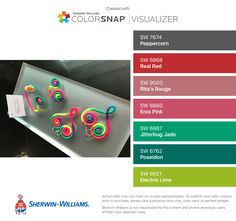 I found these colors with ColorSnap® Visualizer for iPhone by Sherwin-Williams: Peppercorn (SW 7674), Real Red (SW 6868), Rita's Rouge (SW 9003), Eros Pink (SW 6860), Jitterbug Jade (SW 6987), Poseidon (SW 6762), Electric Lime (SW 6921).