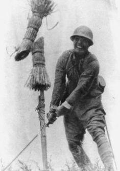 Japanese officer training with his katana sword