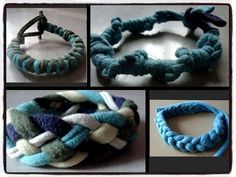 Bracelet/Band out of old t shirt(Easy 4 type) - YouTube