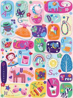 princess alphabet design illustration print greetings card  victoriajohnsondesign.com