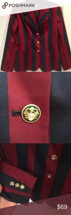 Tommy Hilfiger women's maroon navy striped blazer Blazer is NWOT Tommy Hilfiger Jackets & Coats Blazers