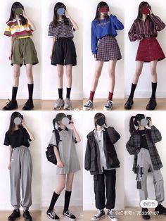 Cute Korean Fashion, Korean Outfit Street Styles, Korean Fashion Trends, Korean Street Fashion, Korean Outfits, Cute Fashion, Look Fashion, Ulzzang Fashion, Kpop Fashion Outfits