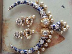 #pearl#jadau#meenakari#hasli#necklace#earring
