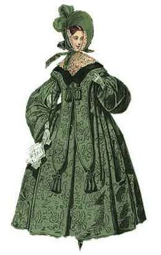 13. Mantlet - a short garment rather like a hybrid between a shawl and a short mantle with pints hanging at either side of the front. (Definition from the textbook)