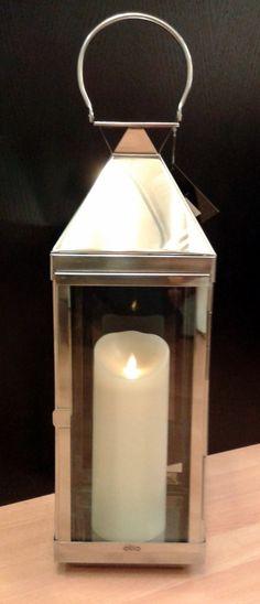 lanterna inox con candela luminara