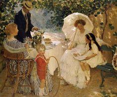 Edward Cucuel (1875-1954): Dama con parasol.