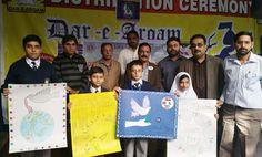 Sialkot Eden Campus #LionsClub (Pakistan) peace posters at a school