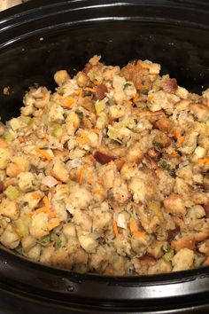 """""""This is an easy way to make 'extra' stuffing for a large crowd, saving stove space because it cooks in a slow cooker. Very tasty and moist! Slow Cooker Bread, Crock Pot Slow Cooker, Crock Pots, Crock Pot Cooking, Slow Cooker Recipes, Crockpot Recipes, Cooking Recipes, Crockpot Stuffing, Homemade Stuffing"""