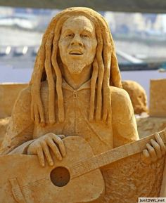 Bob Marley Sand Sculptures In Brighton UK
