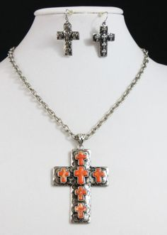 Cowgirl Bling Antiqued Silver Spanish Orange Cross Hammered Gypsy necklace set our prices are WAY BELOW RETAIL! all JEWELRY SHIPS FREE! www.baharanchwesternwear.com baha ranch western wear ebay seller id soloedition