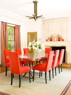 Let the bold colors of fall add color to your home all year-round! More decorating with fall colors: http://www.bhg.com/decorating/seasonal/fall/decorating-inspired-by-fall-colors/?socsrc=bhgpin092713orangechairs#page=14