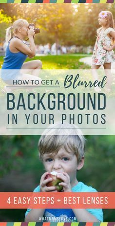 "Follow these easy step-by-step instructions to get a blurry background in your photos. Keep your subject sharp & in-focus, and get a beautiful, soft buttery blur in the back. These tips can be used for both DSLR and point-and-shoot cameras. It even includes the ""Best Recommended Lenses for Parents"" (a.k.a. for taking pictures of your kids!)"