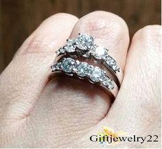 1.50 CT Ladies 14K White Gold Bridal Set Diamond Women's Wedding Engagement Ring #giftjewelry22