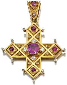A PINK SAPPHIRE AND DIAMOND BROOCH/PENDANT, SOBOLEWSKI, 1860. Designed as a Greek cross centring on a cushion-shaped purplish pink sapphire weighing 3.67 carats set with similarly cut stones to the cardinal points and pendant bail, accented with cushion-shaped and rose-cut diamonds, signed Sobolewski a Paris, pendant bail detachable, accompanied by a detachable pin fitting.