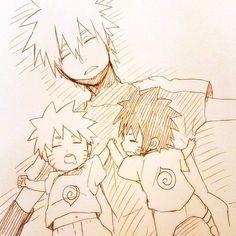 Kakashi and baby Naruto and Menma by djsam23.deviantart.com on @deviantART