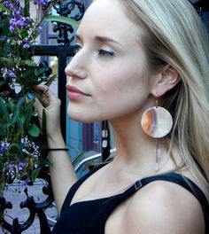Rose Quartz Dangle Earrings Hammered Copper by ImmortalElement