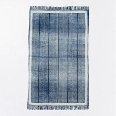 Indigo Rail Cotton Dhurrie | west elm