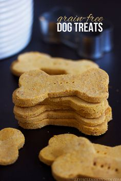 Grain Free Dog Treats. The best part about these, aside from them being packed with nutrients, is that this makes up 60 dog cookies. PLUS, you need only 5 ingredients!