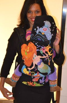 So darn cute!!! Ariel 'The Little Mermaid' (Customized - hand painted by Jacky's Artbox) TULA BABY CARRIER